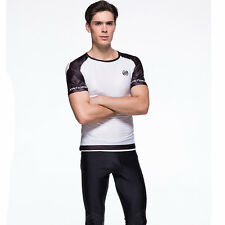 Men Cycling Jersey White GYM Compression Base Layer Short Sleeve Tee Tight Shirt
