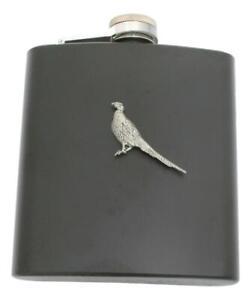 Phesant Standing Matte Black Stainless Steel Hip Flask Personalised 271