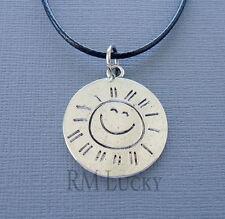 """SUN Round message Pendant Surfer Choker Necklace Black Waxen cord 18 1/2"""" c206"""