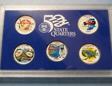 """>2002  COLORIZED STATE QUARTERS, LOT of (5) UNCIRCULATED """"Work of Art"""" COINS"""