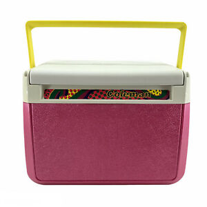 Vintage Coleman Personal Lunchbox Cooler Model 5210 Pink Yellow 80s Beach Retro