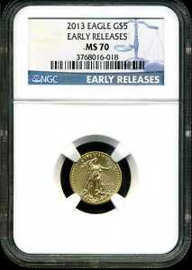 2013 1/10 Oz Gold American Eagle MS70 NGC 3768016-018 Early Releases