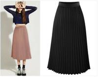 Summer Women Pleated Chiffon dress Elastic Waist Long Midi Slim Fit Loose Skirts