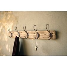 Rustic 5 Hook Wooden Coat Rack - Wall Mounted - 26