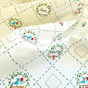 Riley Blake Cotton Fabric Country Birds Love Happy Print White 1/2 M x 110 cm