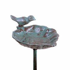 Garden Bird Feeder & Garden Ornament - Leaf on A Stake in Verdigris Cast Iron
