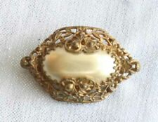 """Antique Edwardian Gold-tone Filigree Faux Pearl Brooch 1 1/2"""" early 20th century"""