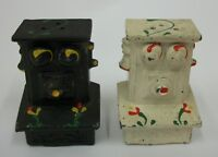 Vintage Cast Metal Antique Wall Mount Telephone Salt and Pepper Shaker Set