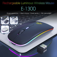 Slim Rechargeable Wireless Bluetooth/USB RGB LED Mouse for Tablet PC Andoid iPad