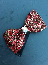 FREE GIFT BAG Men's Wear Bow Tie Sparkly Glitter Red Crystal Wedding Xmas Party