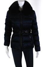 Burberry Brit Womens Zip Up Fur Collar Puffer Coat Blue Size 4
