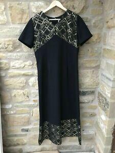 Ladies Vintage Black & Gold Maxi Evening Dress Size 14 V Neck Christmas Party