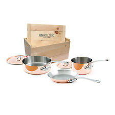 Mauviel M'Heritage M'150s 5 Piece Copper Cookware Set W/ Wooden Crate