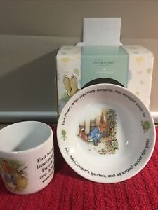 Wedgewood Peter Rabbit 2pc Set: Mug & Bowl Brand New Classic Collection Nursery