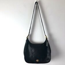 COACH Legacy Bag Crescent Black Leather Flap Satchel Handbag Convertible #9718