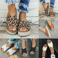 Womens Ladies Flatform Espadrille Sandals Wedge Summer Leopard Shoes Flip Flops