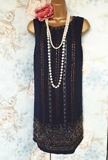 Arynk blue gold silver bead deco 20s flapper gatsby party dress 10