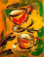M. Kazav COFFEE CUPS Impressionism  Abstract  Fine Art Original Painting  POPART