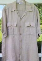 Zanella Men's Short Sleeve 100% Linen Light Brown Italian Casual Shirt Medium