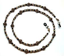 Black / Jet Austrian Crystal Bronze/Copper Bead Mix Eyeglass Chain Holder