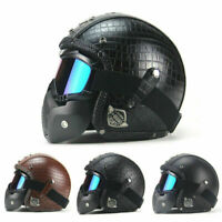 US Original Vintage Leather Motorcycle Helmets Motocross w/Open 3/4 Full Cover