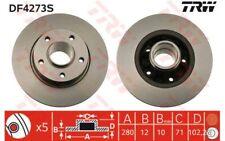 2x TRW Discos de Freno Traseros Pleno 280mm Para RENAULT TRAFIC DF4273S
