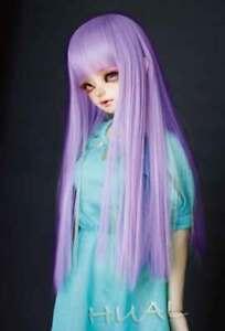 """6-7"""" 1/6 BJD Wig Doll Hair Bright Light Purple Long Vivid Straight Soft Smooth U"""