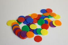 50 x ASSORTED MEDIUM ROUND OPAQUE COLOUR PLASTIC COUNTER CHIPS - FREE UK POST