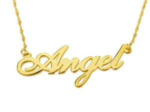 Real gold chain, Pure 14 karat gold name necklace, Gold nameplate neckless