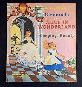 Vintage Abbott Fairy Tales Coloring Book Disney Cinderella Sleeping Beauty