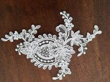FRENCH LACE EMBROIDERED MOTIF, APPLIQUE, TRIM IN WHITE COLOUR.