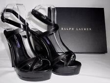 NEW RALPH LAUREN Ladies ATARA Black Leather Wedge Sandals Shoes UK 5.5 EU 38