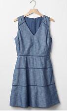Gap UK Size 10 Chambray Blue Cotton V-Neck Embroider Trim Fit & Flare Dress