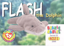 TY Beanie Babies BBOC Card - Series 2 Common - FLASH the Dolphin - NM/Mint
