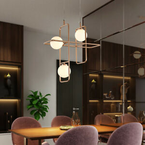 Nordic Style Gold Brass Geometric Shade 3 Glass Globes LED Ceiling Pendant Light