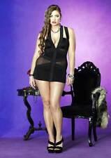Adult Women Mesh Panel Spandex Elastic Band Mini Dress Lingerie Plus Size