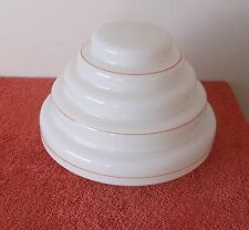 RARE! ANTIQUE VINTAGE 1930's ART DECO STEPPED BEEHIVE GLASS CEILING LIGHT SHADE