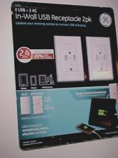 GE In-Wall Tamper-Resistant USB Receptacle 2 pack White New
