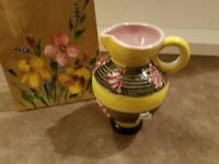 VINTAGE ELBEE ITALY YELLOW PINK 4 INCH PITCHER