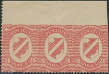 INGERMANLAND 1920 10 (P) red VF U/M strip of 3, VARIETIES: PARTLY IMPERFORATED