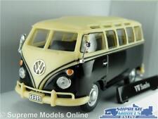 VOLKSWAGEN T1 SAMBA CAMPER CAR VAN BUS VW 1:43 SIZE BLACK/CREAM CARARAMA SPLIT T