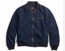 $590 RRL Ralph Lauren VINTAGE INDIGO COTTON MILITARY BOMBER JACKET COAT-MEN-L