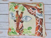 Vtg Bucilla Giraffe Leaves Needlepoint Pillow Finished Handmade Orange Green