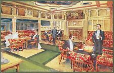More details for cunard liner rms caronia smoking room. superb art advert for cunard line c1905.
