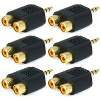 6x 3.5mm TRS Stereo Male to 2 RCA Female Y Splitter Audio Adapter Converter Gold