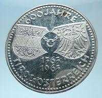 1963 AUSTRIA Tyrol and Austrian Shields Genuine Silver 50 Shilling Coin i78014