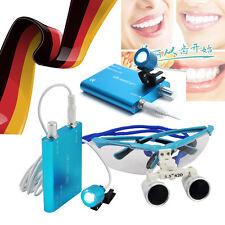 DE Dental Binocular Loupes lupe Zoom Glasses magnifying lens+LED Head Light Lamp