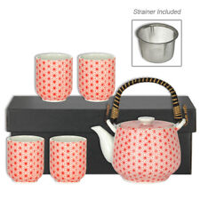 Japanese Porcelain Red Asanoha Tea Pot Cups w/ Strainer Gift Set, Made in Japan