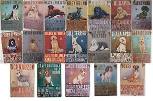 Vintage Mini Metal Plaque Dangler Sign 9cm x 6.5cm Pet Dogs Theme