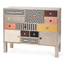 Handmade Bone Inlay White Metal Brass Multi Design Chest of Drawer